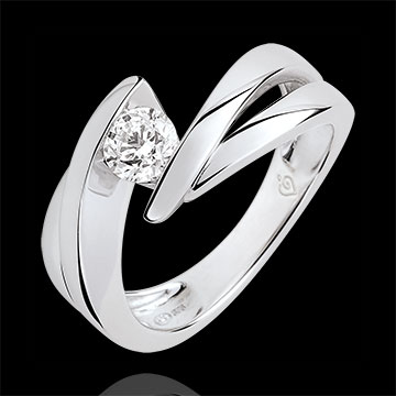 Solitario Nido Precioso - Ondina - oro blanco 9 quilates - diamante 0.4 quilates