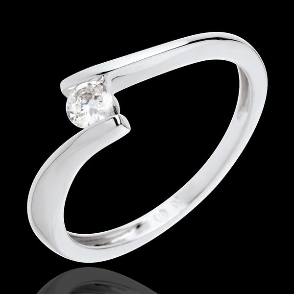 Solitario Nido Prezioso - Apostrofo- Oro bianco - 18 carati - Diamante - 0.16 carati