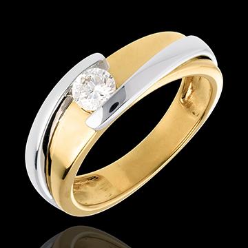 Solitario Nido Prezioso - Bipolare - Oro giallo e Oro bianco (TGM+) - 18 carati - Diamante - 0.305 carati