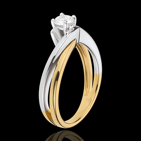 Solitario Nido Prezioso- Filamento- Oro giallo e Oro bianco - 18 carati - Diamante 0.25 carati