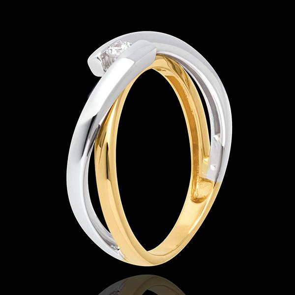 Solitario Nido Prezioso - Meccano Oro giallo e Oro bianco - 18 carati - Diamante
