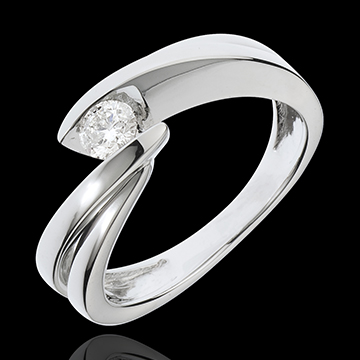 Solitario Nido Prezioso - Ondina - Oro bianco - 18 carati - Diamante: 0.21 carati