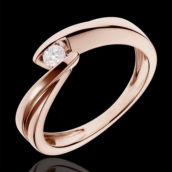 Solitario Nido Prezioso - Ondina - Oro rosa - 18 carati - Diamante