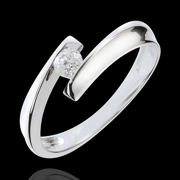Solitario Nido Prezioso - Orfea - Oro bianco - 18 carati - Diamante
