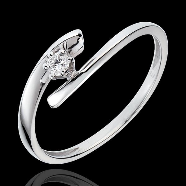 Solitario Nido Prezioso - Orion - oro bianco - 9 carati