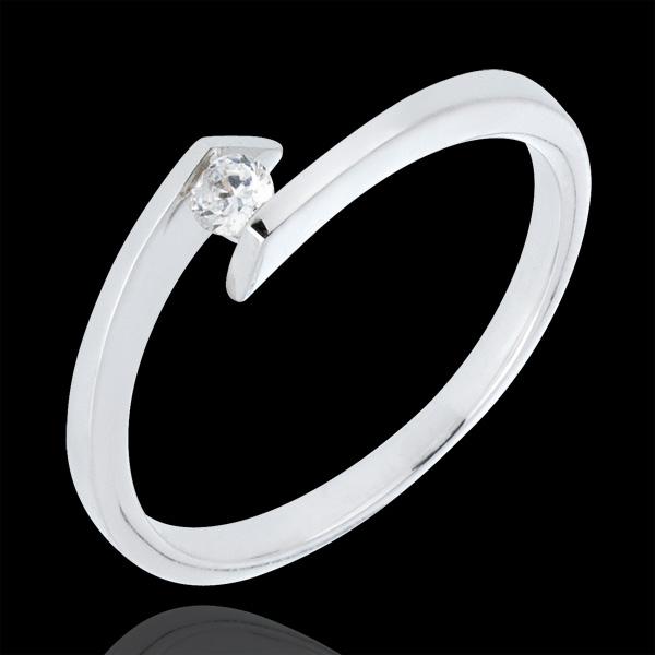 Solitario Nido Prezioso - Principessa Stella - Oro bianco - 9 carati - Diamante