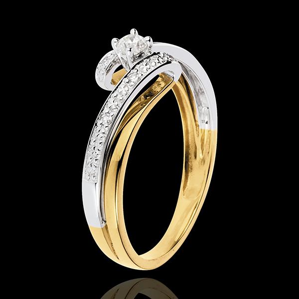 Solitario Nido Prezioso - Sistema solare - Oro giallo e Oro bianco - 18 carati - Diamanti