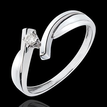 Solitario Nido Prezioso - Zeus - Oro bianco - 18 carati - Diamante