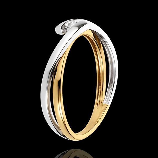 Solitario Plutone - Oro giallo e Oro bianco - 18 carati - Diamante