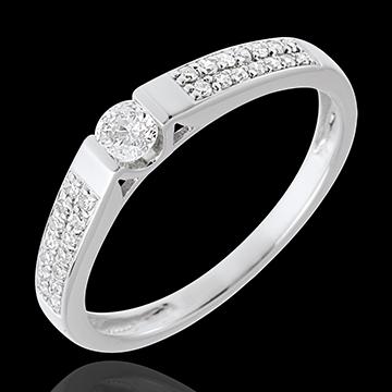 Solitario Ponte - Oro bianco pavé - 18 carati - 29 Diamanti - 0.25 carati -