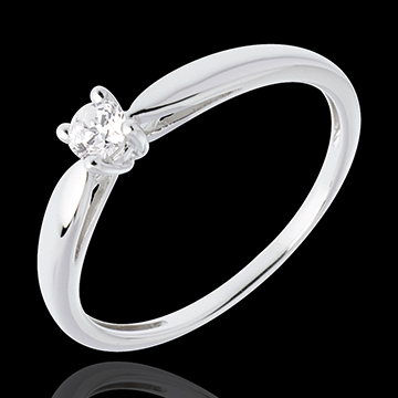 Solitario Ramoscello - Oro bianco - 18 carati - Diamante - 0.13 carati