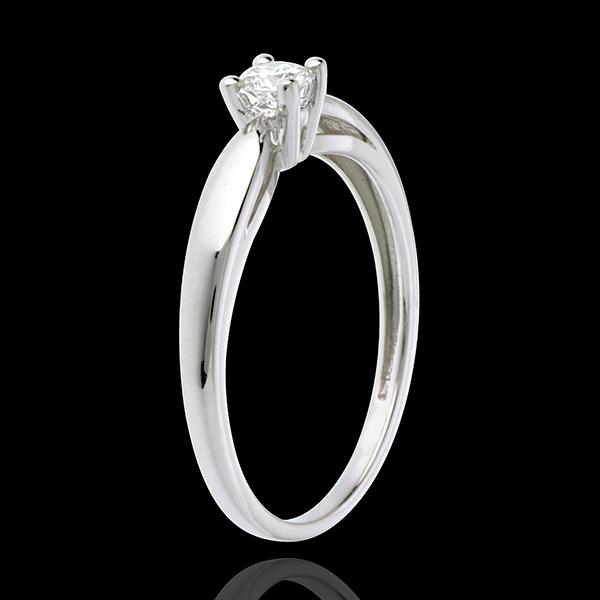Solitario Ramoscello - Oro bianco - 18 carati - Diamante - 0.16 carati