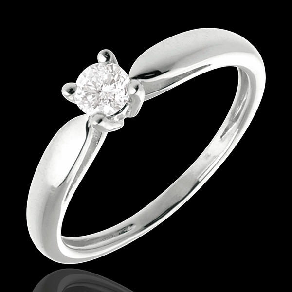 Solitario Ramoscello - Oro bianco - 18 carati - Diamante - 0.21 carati