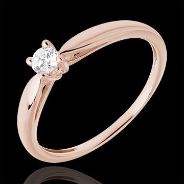 Solitario Ramoscello - Oro rosa - 18 carati - Diamante - 0.13 carati