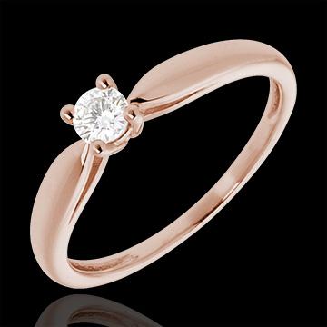 Solitario Ramoscello - Oro rosa - 18 carati - Diamante - 0.16 carati