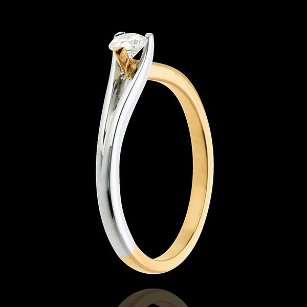 Solitario Spilla - Oro giallo e Oro bianco - 18 carati - Diamante - 0.23 carati