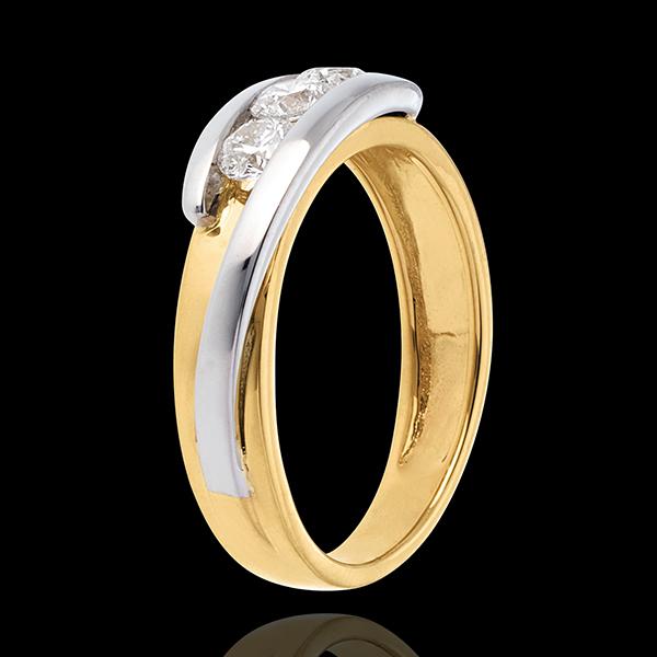 Solitärring Kostbarer Kokon - Anziehungskraft - Weiß-und Gelbgold - 3 Diamanten 0.54 Karat - 18 Karat