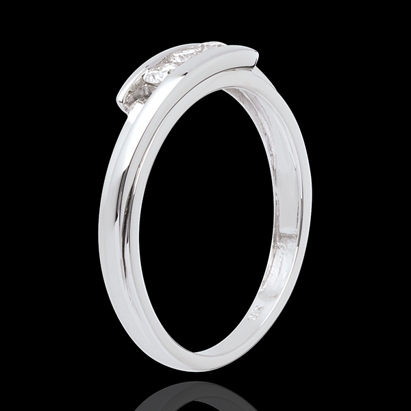 Solitärring Kostbarer Kokon - Anziehungskraft - Weißgold - 3 Diamanten 0.16 Karat - 18 Karat