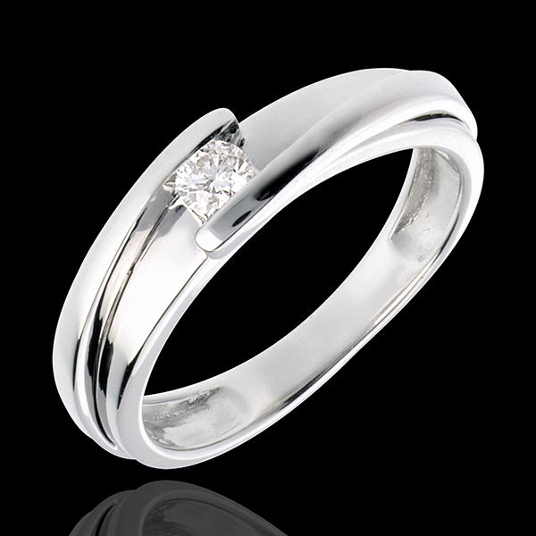 Solitärring Kostbarer Kokon - Anziehungskraft - Weißgold - Diamant 0.13 Karat - 18 Karat