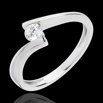 Solitärring Kostbarer Kokon - Apostroph - Weißgold - Diamant 0.2 Karat - 18 Karat