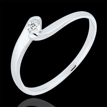 Solitärring Kostbarer Kokon - Ewige Leidenschaft - Weißgold - Diamant 0.08 Karat - 18 Karat