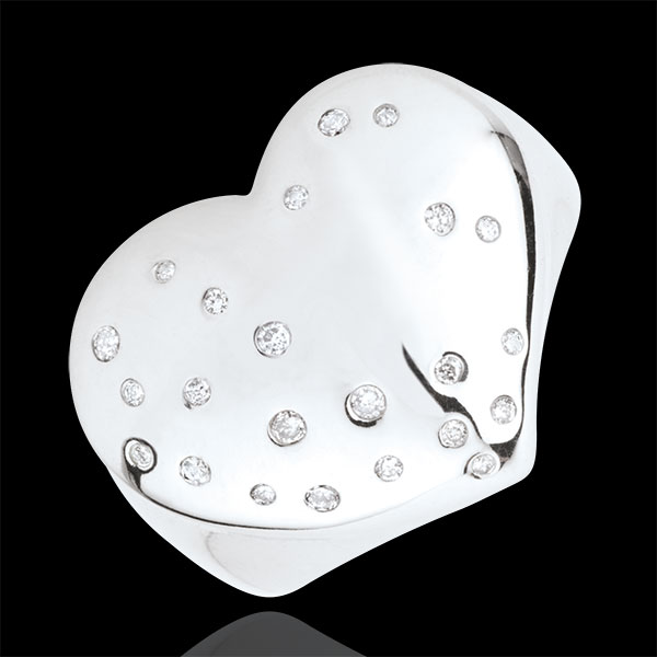 Starry Heart Ring - Silver and diamonds