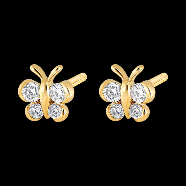 Stud Earrings - My sweet Butterfly - yellow gold 9 carats and diamonds