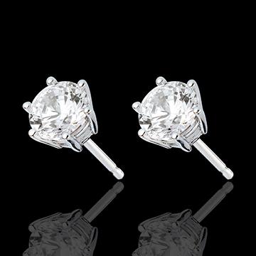 Stud Earrings white gold - 6 prong diamond - 2 carat