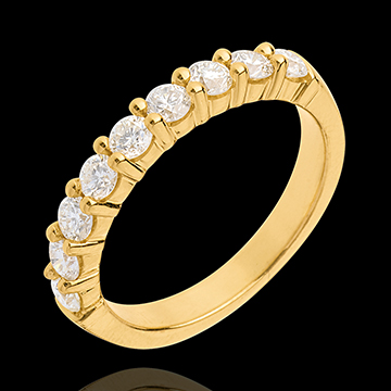 Trauring semi pavé in Gelbgold - Krappenfassung - 0.75 Karat - 9 Diamanten
