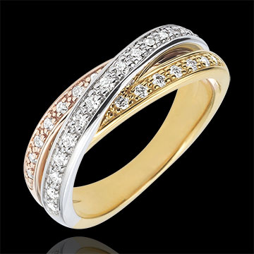 Ring Saturn Diamant - Dreierlei Gold - 29 Diamanten - 18 Karat