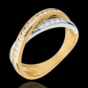 Ring Ellipse in Weiss- und Gelbgold - 0.52 Karat - 29 Diamanten