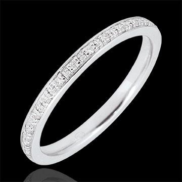 Trauring Diamantglanz - Vollständige Drehung - Weißgold und Diamanten