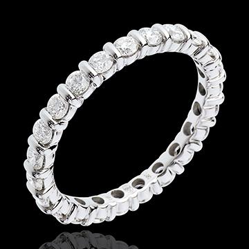 Trauring mit Diamanten besetzt in Weissgold - Krappenfassung - 1.15 Karat - 22 Diamanten