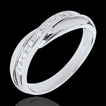 Trauring Diamantenband in Weissgold - Kanalfassung - 7 Diamanten