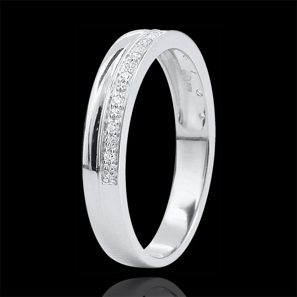 Trauring Elégance Weißgold und Diamanten - 18 Karat