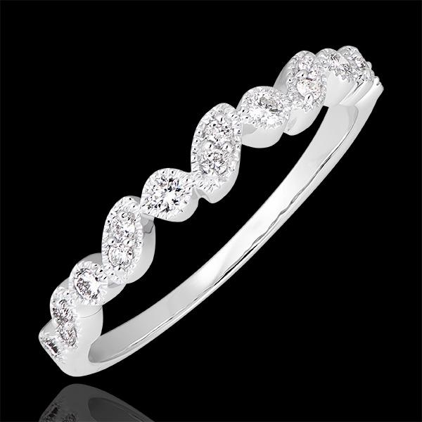 Trauring Erhobener Blick - Variation - 375er Weißgold und Diamanten