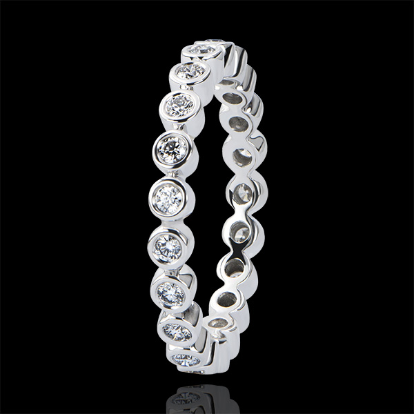 Trauring Fleur de Sel - Zargenfassung kompletter Kreis - 18 Karat Weißgold und Diamanten