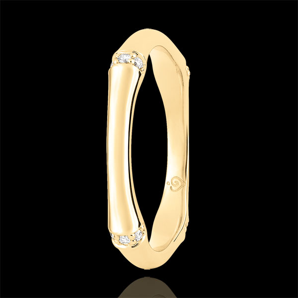 Trauring Heiliger Urwald - Diamantenvielfalt 3 mm - 9 Karat Gelbgold