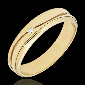 Ring Amour - Herren Trauring in Gelbgold - Diamant 0.022 Karat - 9 Karat