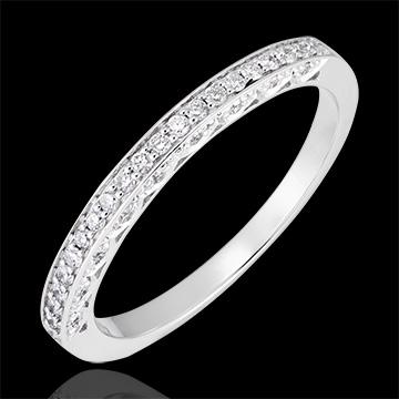 Trauring Myriade - Variation - 375er Weißgold und Diamanten