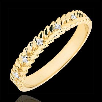 Ring Verzauberter Garten - Diamant Flechtwerk - Gelbgold - 9 Karat