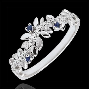 Ring Verzauberter Garten - Königliches Blattwerk - Weißgold, Diamanten und Saphire - 9 Karat