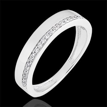 Trauring Passion - Variation - 375er Weißgold und Diamanten