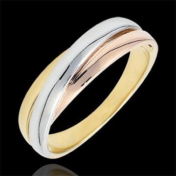 Trauring Saturn Diamant - Dreierlei Gold - 9 Karat