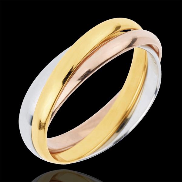 Trauring Saturn Rotation - Mittleres Modell - Dreierlei Gold, 3 Ringe