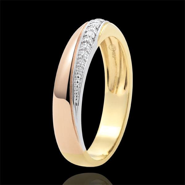 Trauring Saturn - Trilogie - Dreierlei Gold und Diamanten - 18 Karat