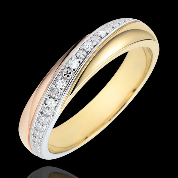 Trauring Saturn - Trilogie - Dreierlei Gold und Diamanten - 9 Karat