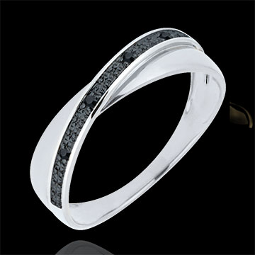 Trauring Saturnduett - Diamanten - Schwarze Diamanten - 18 Karat