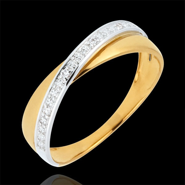 Trauring Saturnduett - Diamanten - Weiß- und Gelbgold - 9 Karat