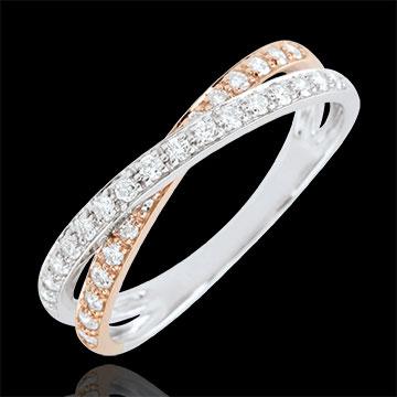 Trauring Saturnduett - Diamantendoppel - Rosé- und Weißgold - 18 Karat